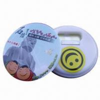 China Round Magnet Plastic Button Bottle Openers, Made of Art Paper, Plastic and Magnet wholesale