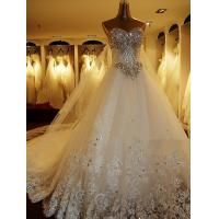 China Sweetheart sleeveless Ladies Wedding Dresses , Diamond cathedral train wedding gowns wholesale