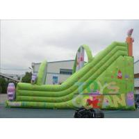 Quality Outdoor Double Huge Inflatable Slides For Rental Green Waterproof for sale