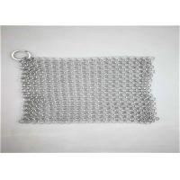 China 8*8inch Stainless Steel ChainmaIl Scrubber With Sqaure  Used For Pan Cleaning wholesale