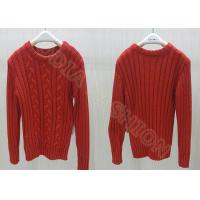 China Red Acrylic Cable Knit Kids Holiday Sweaters Crew Neck Pullover For Girls wholesale