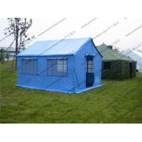 China Soft PVC Windows Outdoor Event Tent , Blue Roof Cover Refugee Tent For Disaster Relief wholesale