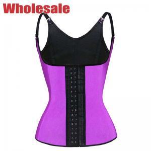 China Purple Vest Corset Latex Waist Trainer 4 Steel Boned Adjustable Shoulder Strap Waist Trainer MH1052 wholesale