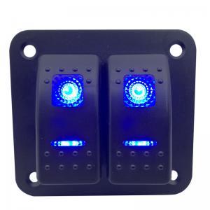 China Waterproof 2 gang 12V-24V Rocker Switch Panel Blue LED ON-OFF Rocker Switch For Car Boat Yacht RV wholesale