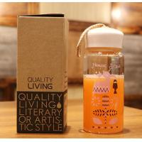 China 360ml Fashionable Water Bottles With String Handle PP Lid Square Shape wholesale