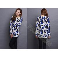 China Womens cowl neck Jacquard Sweaters Long Pullover in contrast color , irregular bock knit wholesale