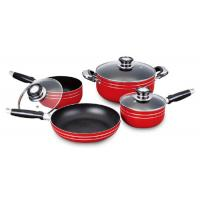 China 7pcs Red Nonstick Cookware Set , Multifunction Pot And Pan Sets wholesale