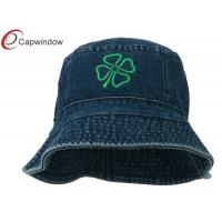 China Denim Four Leaf Clover Embroidered Fisherman Bucket Hat for Adults / Unisex wholesale