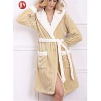 China Quick Dry Hooded Soft Knee Length Bathrobe For Girls V Shaped Embossed Microfiber 100% Polyester wholesale