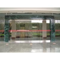Quality Double Sliding Frameless Automatic Glass Door Residential Anodized Silver for sale