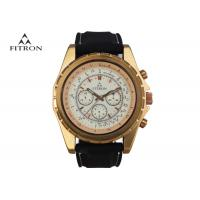 China Multifunction Mens Leather Strap Watches , Quartz Black And Gold Watch Customizable wholesale