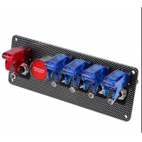 China 6 in 1 Racing Car Red Red LED Toggle Ignition Switch Panel Engine Start Push Button 12V wholesale