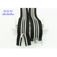 China Silver Length Open End Metal Jacket Zippers Multi Color Black And White Tape wholesale
