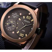 China Smael Men Genuine Leather Band Dual Time Waterproof 30m Casual Quartz Wrist Watch 1314 wholesale