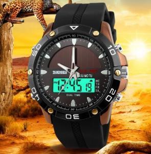 China SKMEI 1064 Solar Power Digital Analog Waterproof Rubber Band Men Sport Wrist Watch wholesale