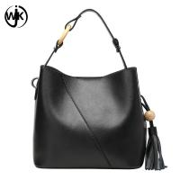 plain leather tote bag with tassel cow leather bag women Multi-function top