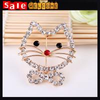 China Smiley Cat Brooch Cravat Exquisite Gift Brooch Full Crystal Cat,Hollow Large Brooch Pin on sale