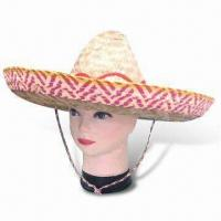 China Straw Hat, Made of 100% Polyester, Sombrero in Various Colors with Hat Cord wholesale