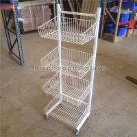 China Metal Wire Display Stand Free Standing With 4 - Layer Basket Holder / 4 Caster wholesale