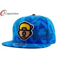 China Blue Irregular Figure Pattern Printing Childrens Baseball Caps With 3D Logo wholesale