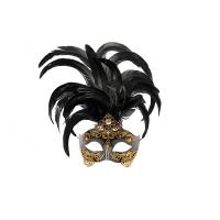 "China Colombina Mask with Metal feather Venetian Carnival     15"" 3090 wholesale"