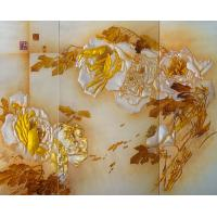 Quality 3D Wall Colored Opaque Decorative Glass Panels Indoor With Yellow Flowers for sale
