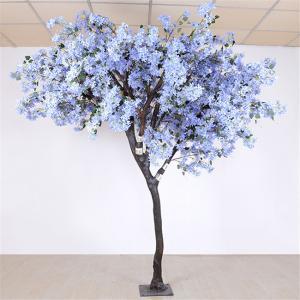 China Soft Artificial Flower Tree Jacaranda Wood Bule Color Sakura Tree Branch on sale