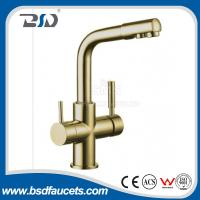 Brass Two Spout out Double Handles  Water Filter Purifier 3 Ways Drinking Kitchen Faucet with Watermark Certification