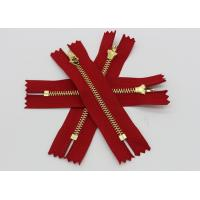 China Adhesive Normal Brass Teeth Heavy Duty Metal Zippers Red Tape For Jeans / Pants / Garments wholesale