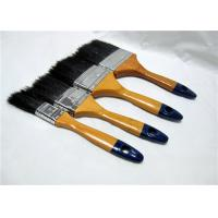 China Black Bristle Flat Sash Brush , Wall Painting Brush With Yellow Lacquered Wooden Handle wholesale