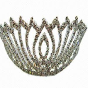 China Bridal Headwear/Tiara/Crown Jewelry Set, Rhinestones Jewelry Crown Tiara, Ideal as Bridal Jewelry wholesale