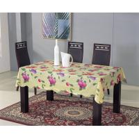 China Vinyl Tablecloth with Non-woven Back and Wave Over Locked Edge on sale