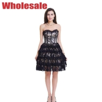 China Grey 9 Bones Floral Lace Bustier And Corset Dress With Zipper wholesale