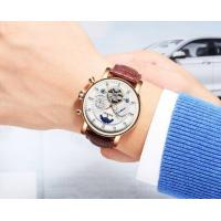 Quality Wholesale Fully Automatic Mechanical Genuine Leather Strap Fashion Men Skeleton Wrist Watches JYD-J025 for sale