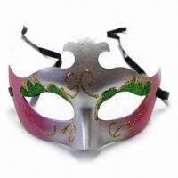 China Mask with Glittery Appearance and Black Band, Made of Plastic wholesale