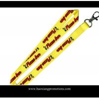 China custom heat transfer logo yellow polyester lanyard strap with plastic buckle wholesale