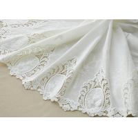 China Cotton White Crochet Lace Fabric / Embroidered Lace Fabric For Home Textile 130cm wholesale