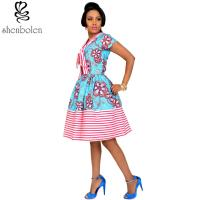 Quality Cotton African Print Dresses Women Ankara Striped Cloth Stitching Batik Printing Dress for sale