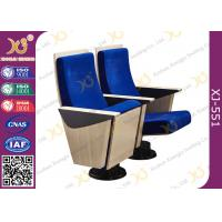 China Blue Fixed Plywood Modern Trainning Room Church Hall Chairs With Single Leg Floor Mounted wholesale