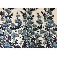 China Bule Floral Embroidered Polyester Net Lace Fabric For Wedding Gown Dresses wholesale
