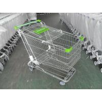 Quality 180 Liter Steel Wire Grocery Store Shopping Cart , 4 Wheel Shopping Trolley for sale
