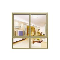 China Waterproof Household Double Glass Sliding Window With Yellow Aluminum Frame , Wheel wholesale