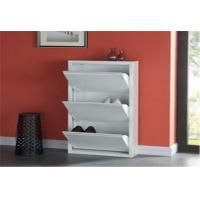 China Modern White Shoes Holder Cabinet , Metal Structure Shoe Rack Storage Cabinet wholesale