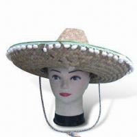 China Straw Hat, Promotional and Party Sombrero, Made of 100% Polyester with Tasseled Brim wholesale