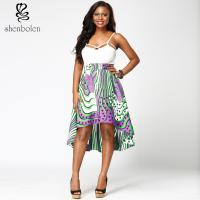 China Fabric African Print High Waist Midi Skirts High Low Style For Summer / Spring wholesale