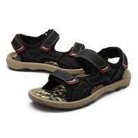 China Comfortable Mens Black Leather Sandals , Mens Sport Sandals EUR 39-46 Size wholesale