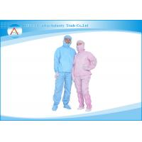 China ESD Cleanroom Clothing / Apparel Coveralls with Hood and Pants , OEM Service wholesale