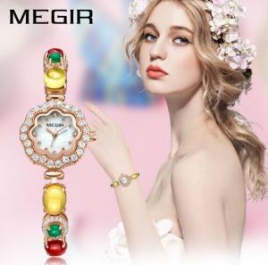 China MEGIR Ladies Fashion Pearl Fritillaria Dial Zircon inlaid Copper Strap Hight Quality Quartz Wrist Watch  4197L wholesale