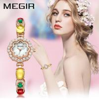 China MEGIR Ladies Fashion Pearl Fritillaria Dial Zircon inlaid Copper Strap Hight Quality Quartz Wrist Watch  4197L wholesale