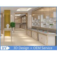 OEM White Store Jewelry Display Cases With LED Light , Jewellery Showroom Counter